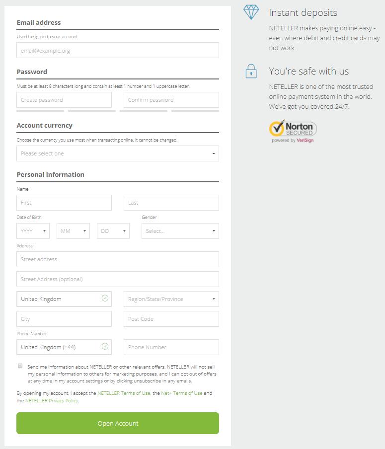 Neteller registration step 1