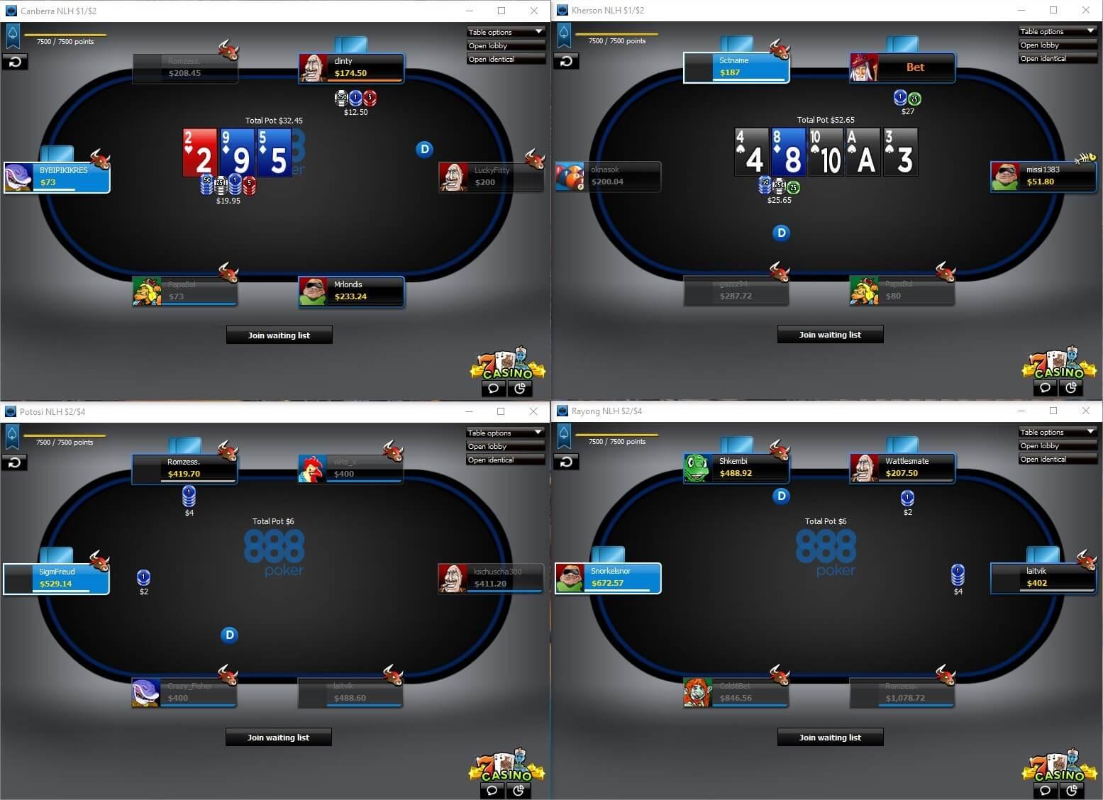 888 Poker Tables