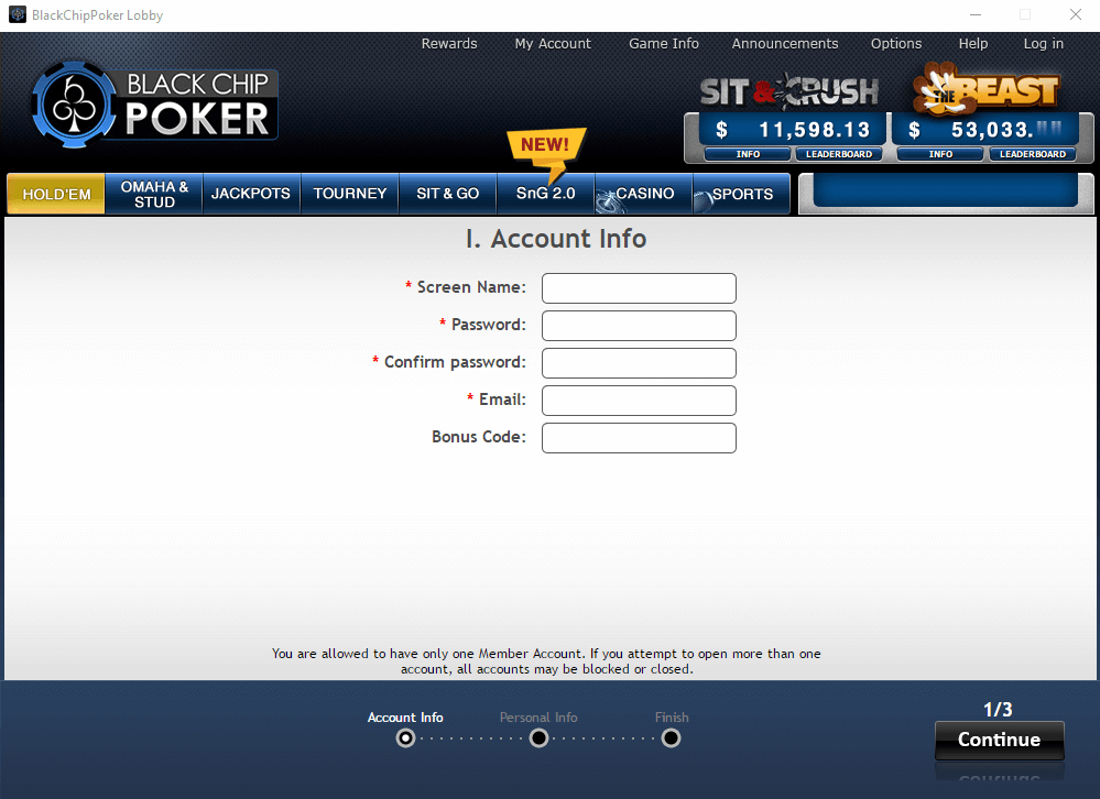 Black Chip Poker Registration Step 2